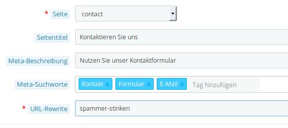 URL-rewrite für das Kontaktformular